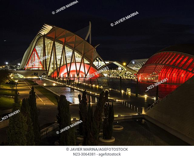 Christmas illumination at the Prince Felipe Museum in the City of Arts and Sciences, Valencia, Spain