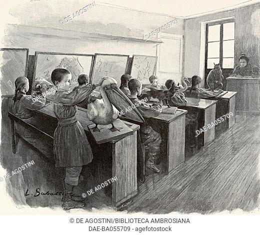 Natural history lesson at Ecole Braille, institute for the blind, Paris, France, illustration from the magazine L'Illustration, year 55, no 2847, September 18