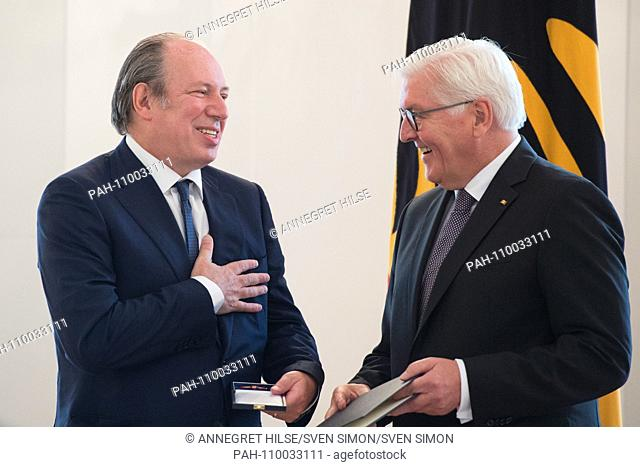 Federal President Frank-Walter STEINMEIER hands over the Order of Merit to Hans ZIMMER (Los Angeles / USA, film composer)