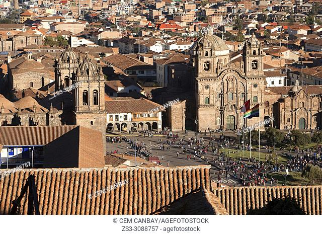 View from above to the Cathedral of Cusco and Iglesia De La Compania De Jesus-La Compania De Jesus Church at Plaza de Armas Square in the town center, Cusco