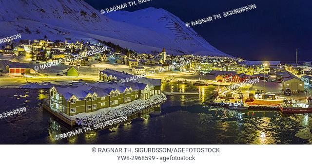 Wintertime, Siglufjordur, Northern Iceland. This image is shot using a drone
