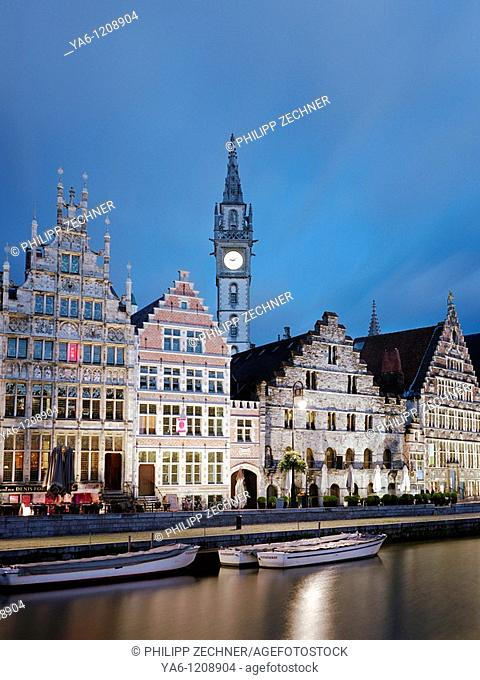 Guild houses in Gent at night