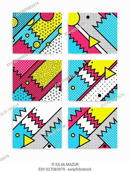 black and white Neo Memphis geometric pattern juxtaposed with bold blocks of zig zags, squiggles, erratic images. Design background elements composition