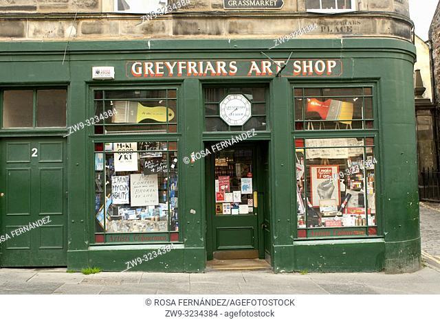 Greyfriars Art Shop, George IV Bridge, Old Town, Edinburgh, Scotland, United Kingdom, Europe