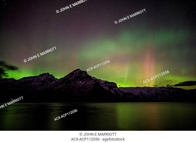 Northern Lights over Lake Minnewanka in Banff National Park, Alberta, Canada