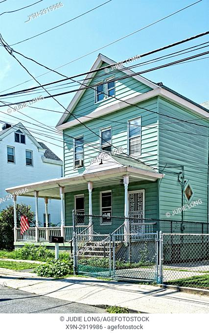 Bronx, New York, City Island. Typical Wood Frame Home on a Side Street,