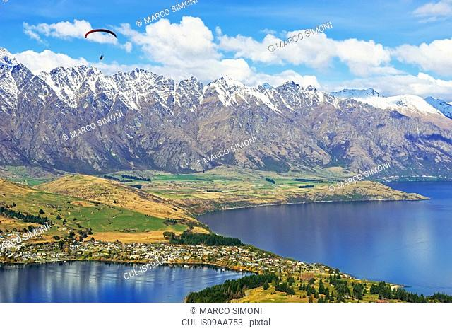 Paragliding over Remarkables Mountain Range, Queenstown, South Island, New Zealand