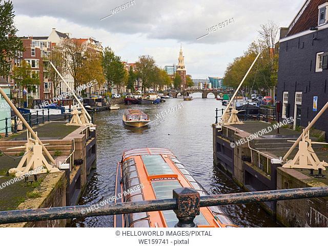 View along Sint Antoniesbreestraat from Sint Antoniesluis lock (1602), Amsterdam, Netherlands