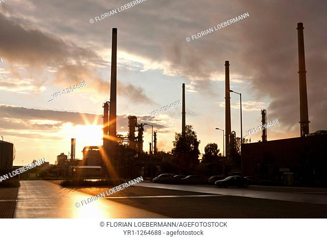 Sunset over an oil refinery in southern germany