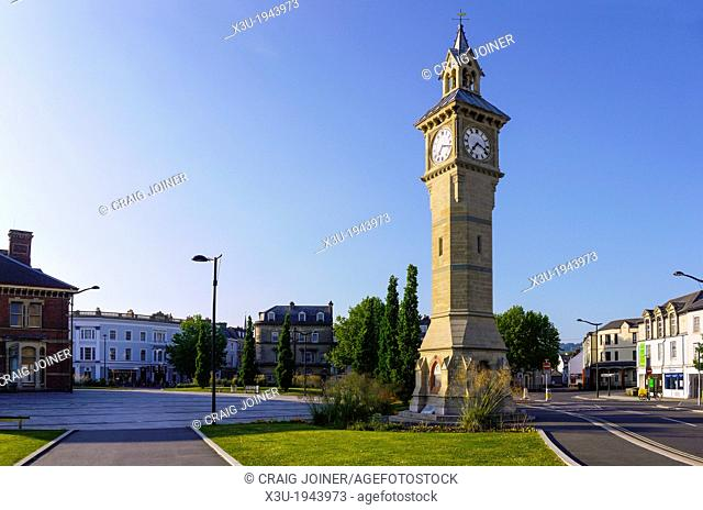 The Prince Albert memorial clock, also known as Four Faced Liar owing to four different times displayed on each clock face, Barnstaple, Devon, England