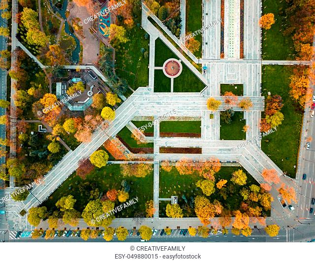 Aerial view of a small park at autumn