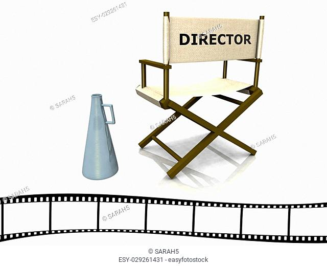 A director chair with a megaphone beside it and a film strip at the bottom