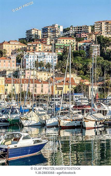 View over the Marina of Imperia at the Ligurian coast, North West Italy