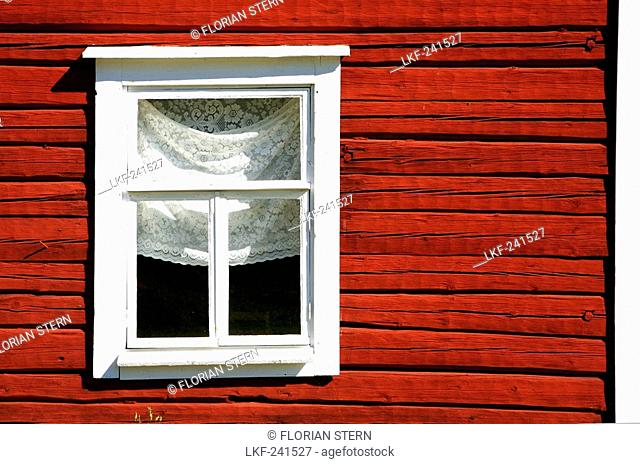 Window of a traditional finish farm house, Linnansaari National Park, Saimaa Lake District, Finland, Europe