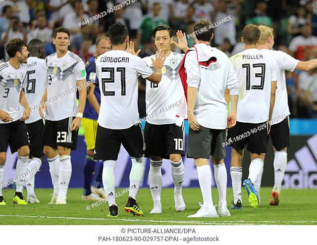 23 June 2018, Russia, Sochi, Soccer, World Cup, Germany vs Sweden, Group F, Matchday 2 of 3 at the Sochi Stadium: German players celebrate their victory
