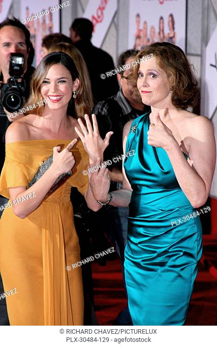 Odette Yustman and Sigourney Weaver at the World Premiere of Touchstone Pictures You Again. Arrivals held at the El Capitan Theatre in Hollywood, CA