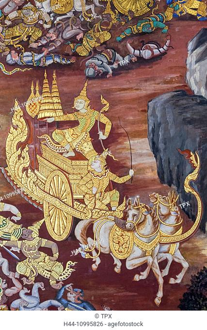 Thailand, Bangkok, Grand Palace, Wat Phra Kaeo, The Galleries, Wall Paintings Depicting Scenes from the Ramakien