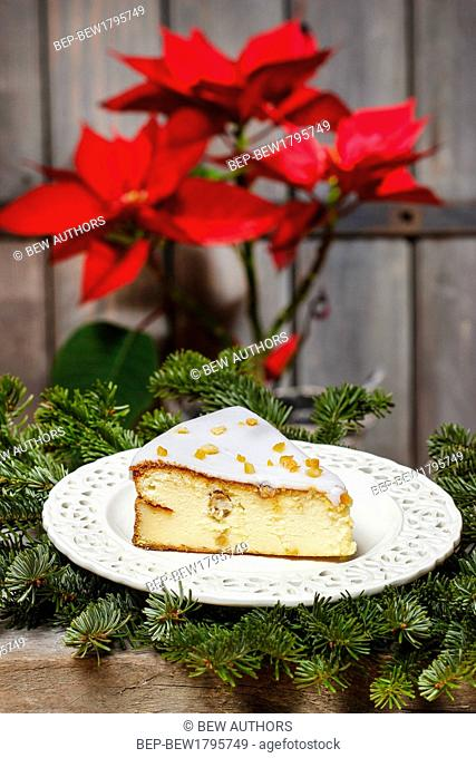 Cheesecake in christmas eve setting. Poinsettia flower in the background