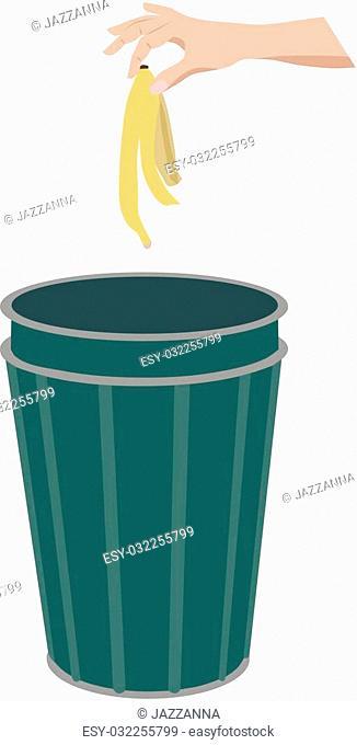 Banana skin in litter bin, isolated vector