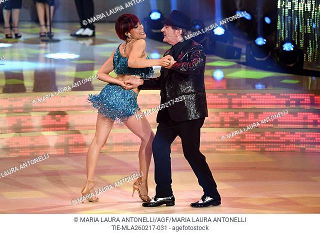 Ornella Boccafoschi with Fausto Leali during the tv show Ballando con le stelle, Rome, ITALY-25-02-2017