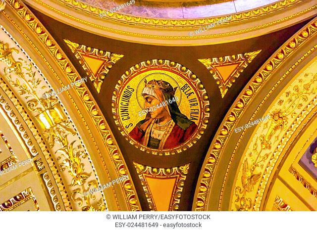 Saint Cunigundes Mosaic Saint Stephens Cathedral Budapest Hungary. Saint Stephens named after King Stephens who brought Christianity to Hungary
