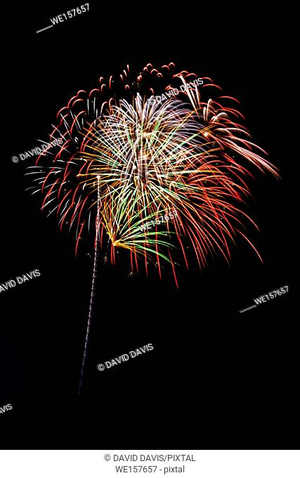 Beautiful fireworks display fills the night time sky