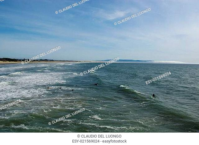 Beach,dunes and surfers on Pacific Coast, Pismo Beach, California