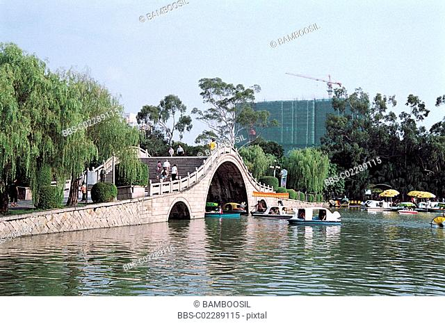 Arched bridge of West Lake Park Xihu Park, Fuzhou City, Fujian Province of People's Republic of China