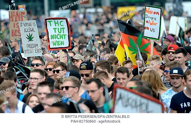 Participants of the 20th Hemp Parade in Berlin, Germany, 13 August 2016. The demonstrators demand the legalisation of cannabis as a material
