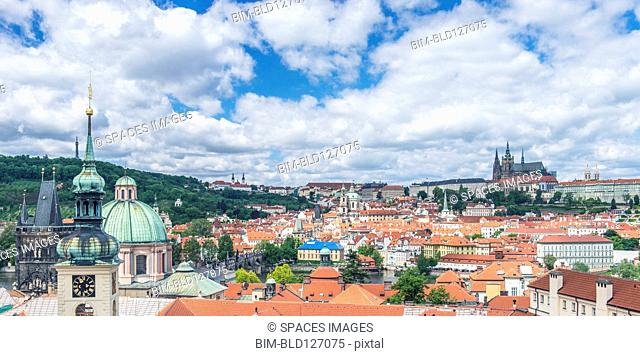 Prague Castle and cityscape, Prague, Central Bohemia, Czech Republic