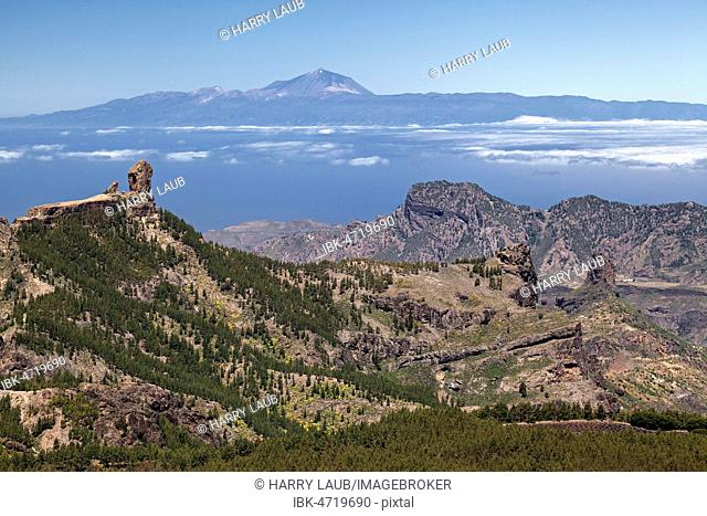 View from the Pico de las Nieves to the west of Gran Canaria, left Kulfelsen Roque Nublo, behind Tenerife island with Teide volcano, Gran Canaria