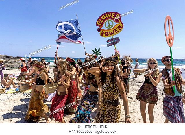 Promotion Group for Flower Power Party at Pacha Club, Playa ses Salines, Ibiza, Spain