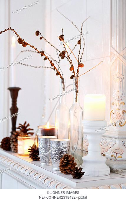 Winter decorations with candles