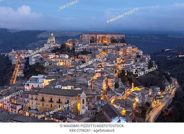 Cityscape of Ragusa Ibla at dusk, Sicily, Italy