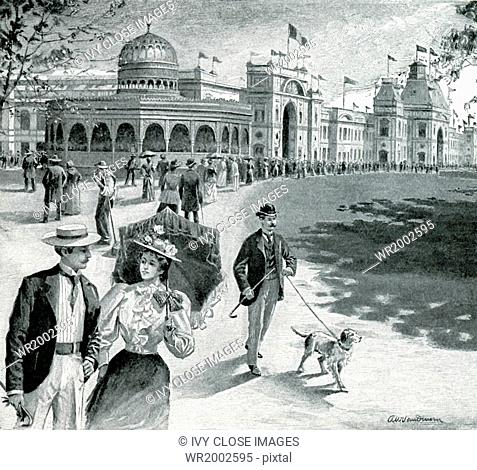 Shown here are the Mexican National Exhibits Pavilion and the Main Building in the New Orleans Exposition of 1884. The official title was the 1884 World's...