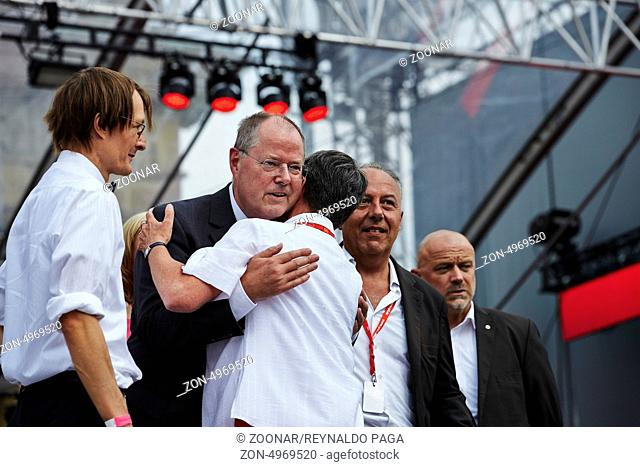 Berlin, Germany. 17th August, 2013. Peer Steinbrueck (SPD), SPD chancellor candidate, holds a speech during the anniversary of the 150 years of the SPD Party...