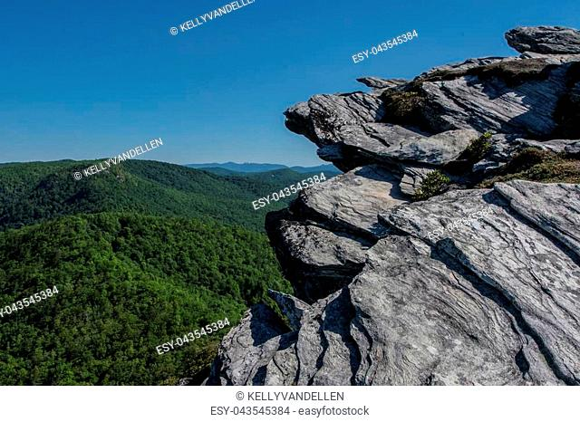 Rock Outcropping Above Blue Ridge Mountains in Linville Gorge
