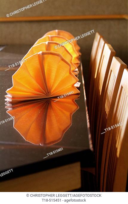Dining table with fanned napkins