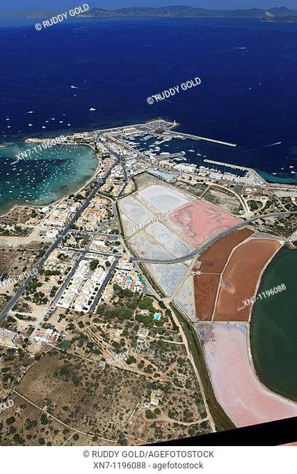 Es Savina harbor, Des Peix lagoon on the middle left and Pudent lagoon at right botton, Formentera, Balearic Islands, Spain