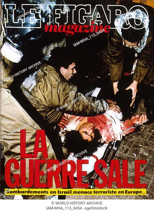 Front Page of the French publication 'Le Figaro' reporting on an attack in Israel during the Gulf War, 26th January 1991