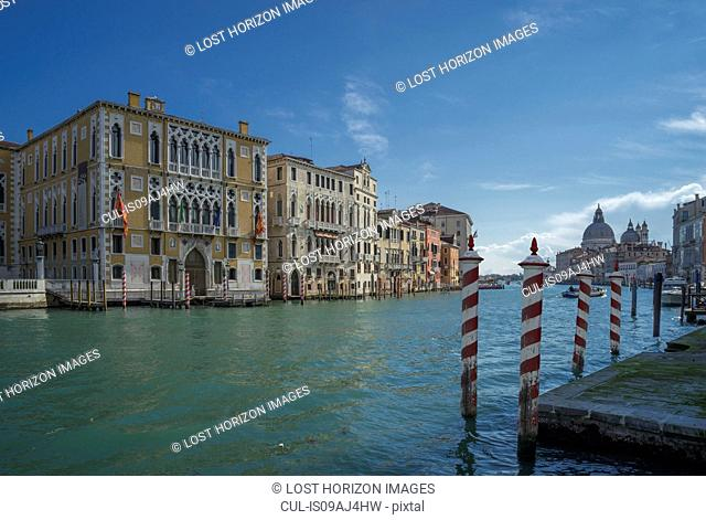 View of pier and the Grand Canal, Venice, Veneto, Italy