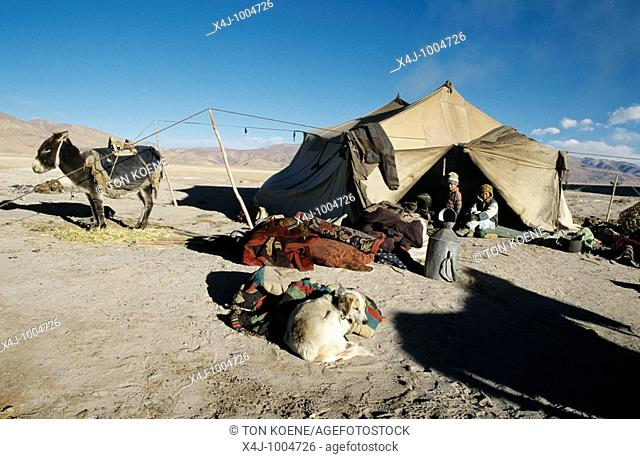 Family tent in the countryside of Tibet  Tibet is known as the Roof of the World, with most of the area above 3,000 feet  Under firm Chinese control since 1950