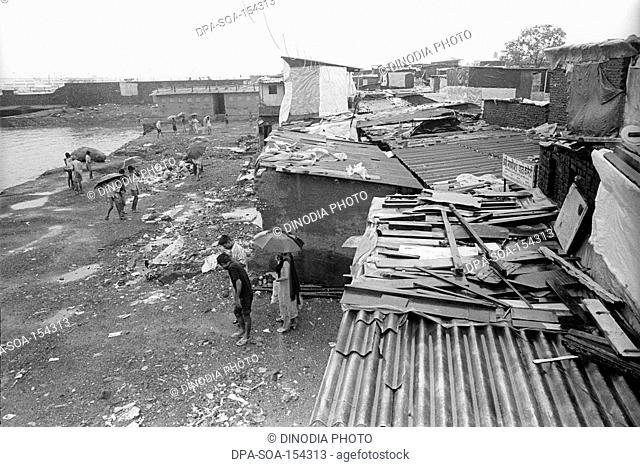 Slum near the airport at bail bazaar ; Bombay Mumbai ; Maharashtra ; India