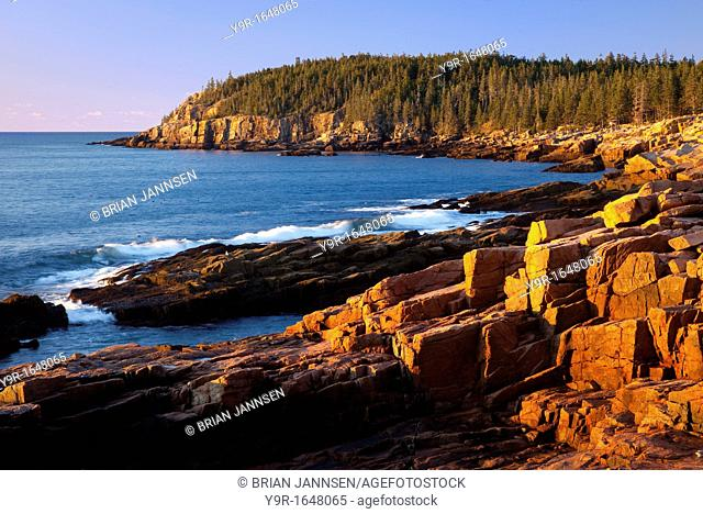 Early morning at Otter Cliffs along the coastline of Acadia National Park, Maine, USA