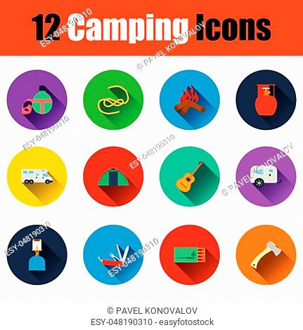 Camping icon set. Full color flat design with shadow. Vector illustration