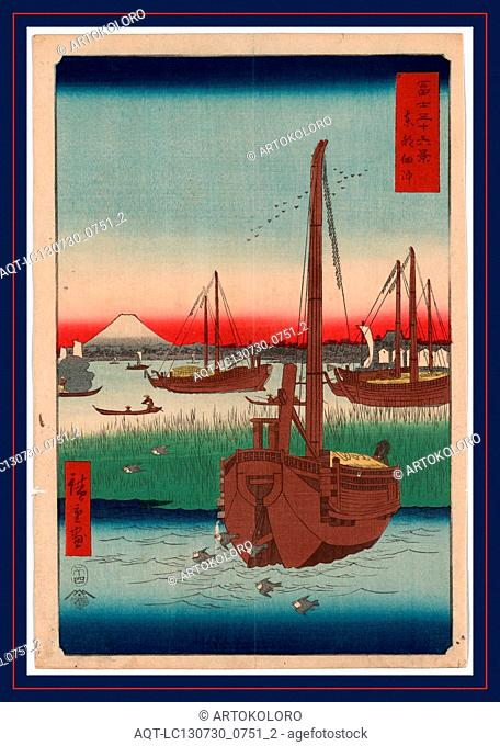 Toto tsukuda oki, Offing of Tsukuda in the eastern capital., Ando, Hiroshige, 1797-1858, artist, 1858., 1 print : woodcut, color ; 35.9 x 24.4 cm