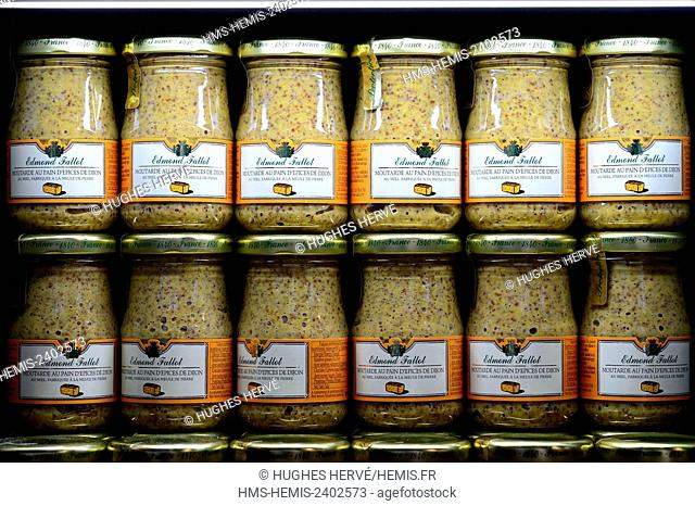 France, Cote d'Or, Cultural landscape of Burgundy climates listed as World Heritage by UNESCO, Dijon mustard shop, Fallot shop