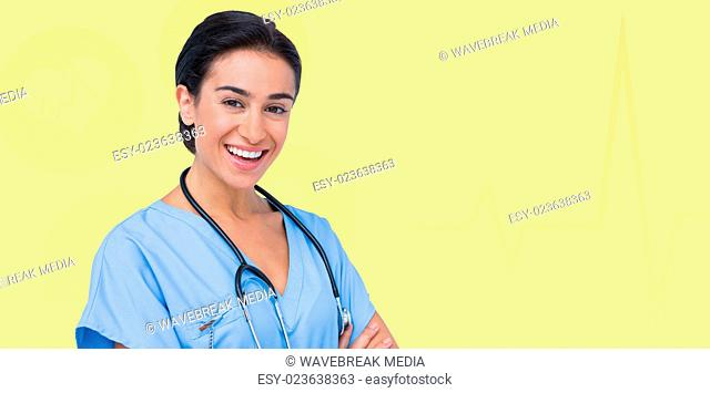 Composite image of portrait of smiling female doctor
