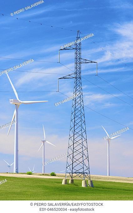 Windmills for electric power production,Zaragoza Province, Aragon, Spain