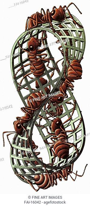 Möbius Strip II (Red Ants). Escher, Maurits Cornelis (1898-1972). Colour linocut. Modern. 1963. © Escher in het Paleis, Den Haag. Graphic arts